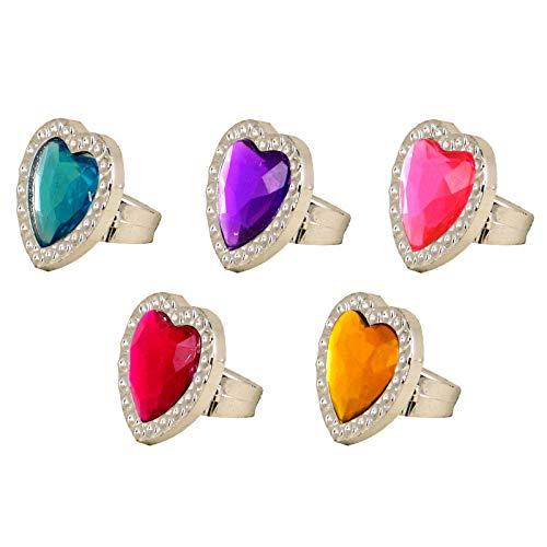 EliteKoopers 48 anillos de joyería de princesa de color aleatorio para niños y niñas, accesorios de fiesta de cumpleaños