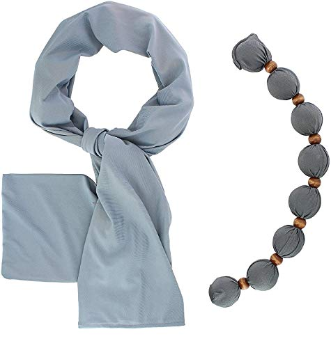 Nano-Ice Cooling Necklace + Scarf - Grey | Beat The Heat in Style! | Take Out of Freezer for Hours of Cooling Relief!
