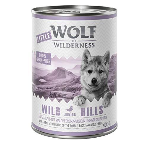 Little Wolf of Wilderness Wild Hills Junior Ente & Kalb, 24 x 400 g