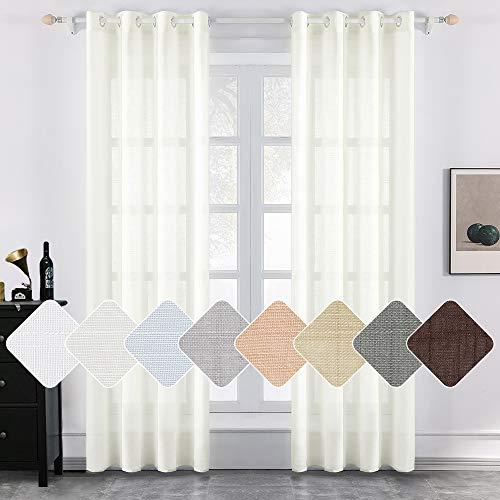 MIULEE 2er Set Voile Vorhang Sheer Leinenvorhang mit Ösen Transparente Leinen Optik Gardine Ösenschal Wohnzimmer Fensterschal Luftig Lichtdurchlässig Dekoschal für Schlafzimmer 145 x 140cm (H x B)