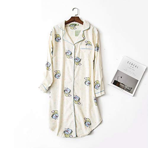 Vrouwen Katoen Sleep shirt, met lange mouwen button-down nachthemd, Flanel Night Shirt (vijf maten),H,S