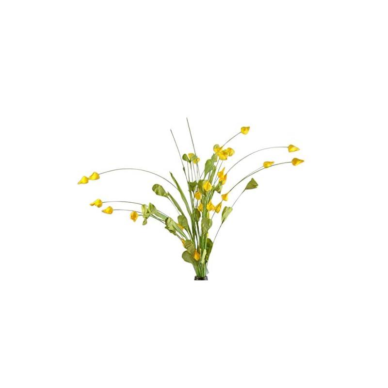 silk flower arrangements artificial flower buds floral sprays for arrangements, 20 inch (dark yellow)