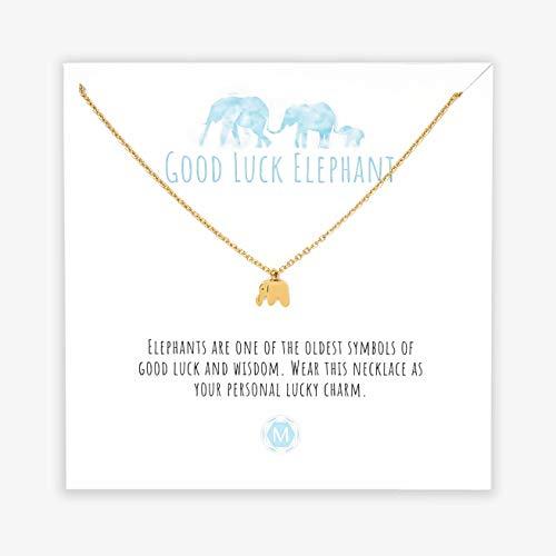 MURANDUM Geschenk Kette für Elefantenliebhaber | Good Luck Elephant Necklace | Damenhalskette mit Elefanten Anhänger inklusive Geschenkkarte | verstellbar (Gold)