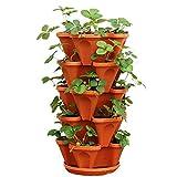 YLLQXI Pequeñas Macetas de Arcilla, 5 Ruedas de Fresa Huerto Balcón, Macetas, Apilable Flor Torre Multi-Capa de Tiesto, para Cactus, Plantas Suculentas y Flores