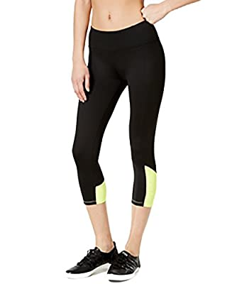 Calvin Klein Womens Performance Capri Leggings, Black/Flashlight, X-Large