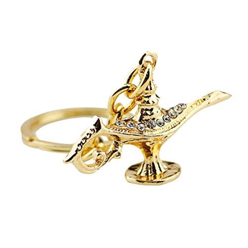 Llaveros con forma de lámpara de Aladino, llavero vintage, llavero creativo, decoración de llaves, regalo pequeño, recuerdo de metal para hombres y mujeres (dorado)