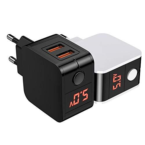 Luminiu Adaptador de Carga USB, Cargador de Doble Puerto USB, Cargador de Pared rápido, función de Carga rápida para Smartphones y tabletas, así como Otros Dispositivos USB