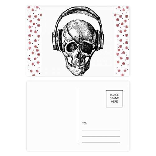 Tarjeta postal de agradecimiento con diseño de calavera y flores, 20 unidades