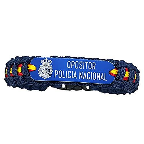 Pulsera Paracord Opositor Policía Nacional. con Bandera de España. Azul...