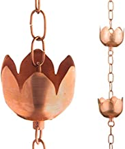 Marrgon Copper Rain Chain – Decorative Chimes & Cups Replace Gutter Downspout & Divert Water Away from Home for Stunning F...