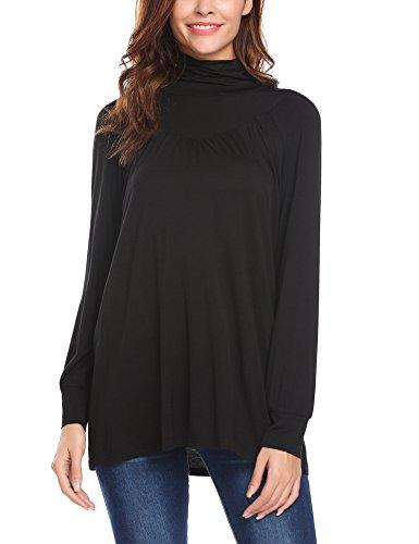 Beyove, felpa da donna con collo alto, a maniche lunghe, slim fit, basic B + nero. L