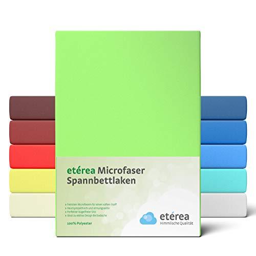 #6 Etérea Classic Microfaser Interlock Spannbettlaken, Spannbetttuch, Bettlaken, 9 Farben, 180x200 - 200x200 cm, Apfelgrün
