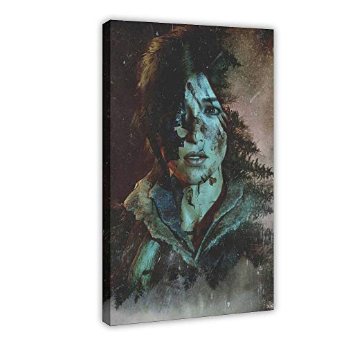 Póster de juego Tomb Raider SCARED Canvas Poster Wall Art Decor Cuadro Cuadro Cuadro Cuadro para Sala Dormitorio Decoración 40×60cm Frame-style1