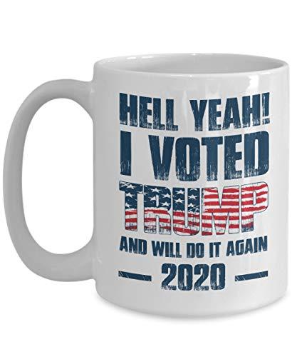 Funny Trump 2020 Mug I ELU Trump et Do It Again America Drapeau patriotique Maga Funny Tasses à café Tasse Meilleur anniversaire cadeaux de Noël pour homme Wome, 311,8 gram, Blanc