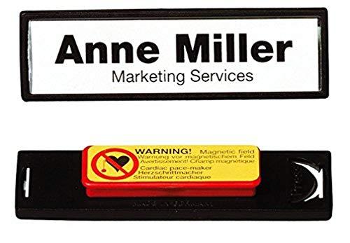 Durable 813201 Namensschild Clip-Card mit Magnet (17 x 67 mm) Packung à 25 Stück schwarz