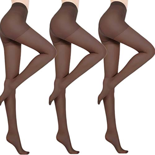 JungleTrack 3 Pairs Pantyhose for Women Stretchable Control-Top Tights Slimming Silk Sheer (Coffee)