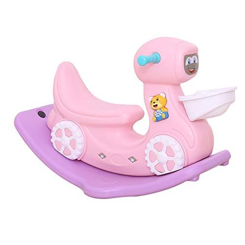 Cavalli a dondolo FJH Bambini con Musica Giocattoli in plastica Spessa Styling per Motociclisti Macchina per l'educazione precoce per Aiutare Il Bambino a Imparare (Colore : Pink)