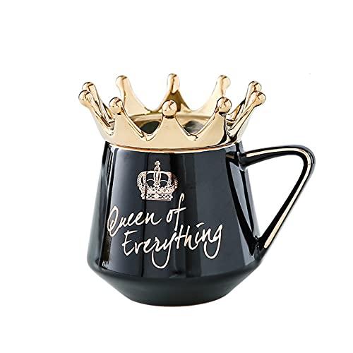 Laoonl - Taza de café de cerámica con tapa de reina y cuchara para bebida caliente y fría, regalo para mujeres, novias, enamoradas o bodas