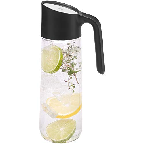 WMF Nuro - Jarra de agua (1 L, con asa, altura de 29,7 cm, jarra de cristal, cierre CloseUp), color negro