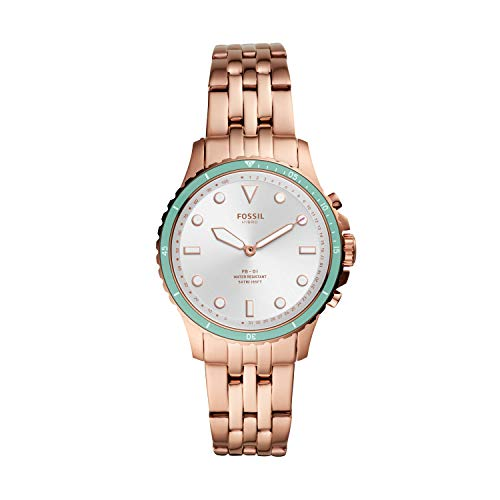 Fossil Women's FB-01 Stainless Steel Hybrid Smartwatch, Color: Rose Gold/Turquoise (Model: FTW5068)