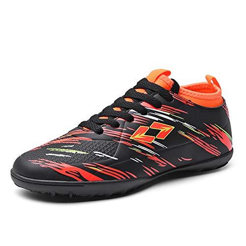 DWZRG Men Outdoor/Indoor Athletic Lightweight Comfortable Soccer Shoes Boys Football Cleats Sneaker Shoes (Toddler/Little Kid/Big Kid) (2.5, Black)