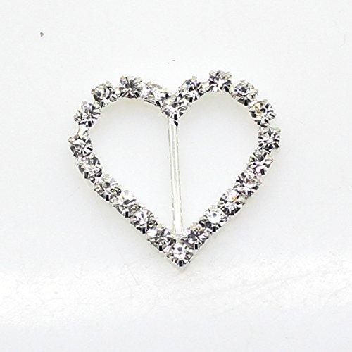 De 25 mm X 20 mm en forme de cœur avec strass Boucle coulissant pour mariage Invitation Lettre