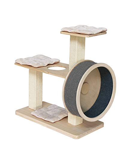 """Penn-Plax Spin Kitty Cat Tree with Built-in Wheel – for All Things Running, Spinning, Scratching, Climbing, and Napping – 2 Tiers with 20"""" Diameter Wheel"""