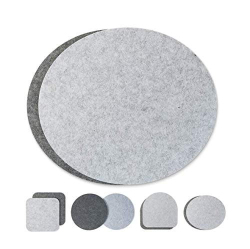 luxdag Seat Cushion Pad Two-Coloured Round Set of 2 (Choice of Colours) for Chairs, Benches, Stool Round Felt Chair Cushion Diameter 34 cm, Light Grey-Grey, Oval
