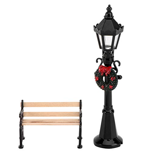 NUOBESTY 2pcs Mini Street Light Model Solar Lamp Post Lights Miniature Wooden Bench Outdoor Pathway Lantern Post Doll House Fairy Garden Decorations Accessories