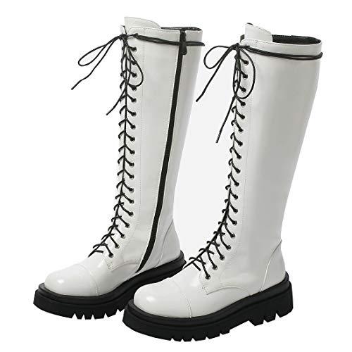 Etebella Damen Knee High Combat Boots Gothic Lack Kniehohe Stiefel zum Schnüren Flache Kniehoch Stiefel Moderne Schuhe (Weiß,41)
