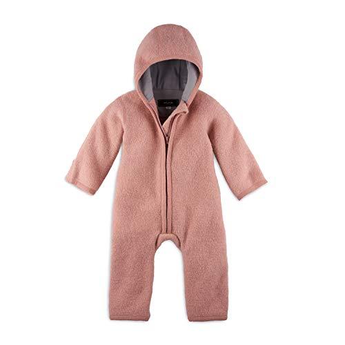 Halfen Walkanzug Baby (100% Made in Germany) - Walk Baby Overall, Babyoverall aus Walkwolle (Bio Natur Schurwolle), Walkoverall mit Kapuze, Farbe: Blush,62/68