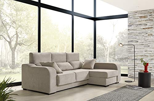 ECCOX - Sofá Chaiselongue Zafiro 3 Plazas Tela Antimanchas Derecha Color Beige