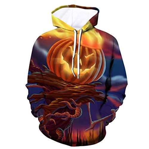 MAYOGO Herren Unisex Kapuzenpullover Halloween Digital Muster 3D Hoodie Herren Damen Sweatshirt Männer Kapuzenpulli Sportjacke Pullover Freizeit Streetwear Pulli mit Kordelzug