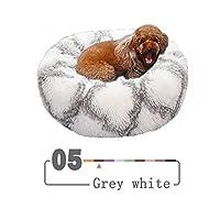 ロングぬいぐるみ子犬犬小屋ペットベッドウォームハウスソフトラウンドベッドクッションネスト快適なペットベッドマット-grey white-50cm