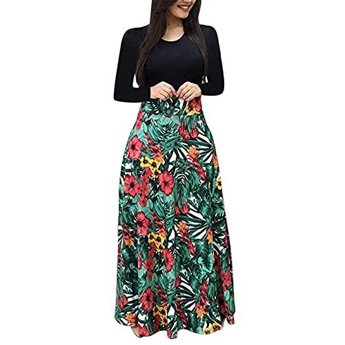 Liably Vestido de otoño para mujer, elegante, de manga larga, estampado floral, holgado, de cintura alta, multicolor, moderno, elegante, de noche, de baile, verde, XXL