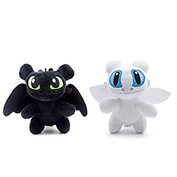 GRTLPOK 2 PCS / Set How to Train Your Dragon 3 Toothless Light & Night Fury Soft Toy Features New Cute Keychain 7.8   Plush for Children  A