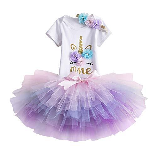 IBAKOM - Vestido de unicornio de manga corta para bebé y niña, con falda de tutú colorida, 3 piezas, traje de fiesta de cumpleaños