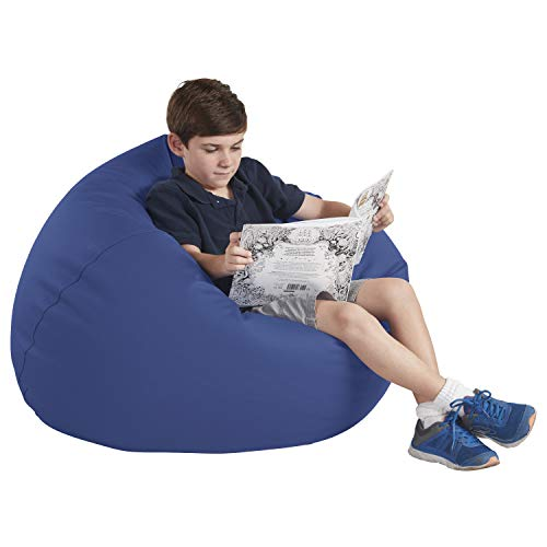 "FDP SoftScape Classic 35"" Junior Bean Bag Chair, Furniture for Kids, Perfect for Reading, Playing Video Games or Relaxing, Alternative Seating for Classrooms, Daycares, Libraries or Home - Navy"