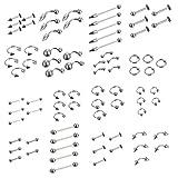 Juland 85 PCS Kit de Piercing Piercing Corporal Acero quirúrgico Ombligo, Lengua, ceja, pezón, Labio, Nariz Tapers Juego de medidores de Tapones