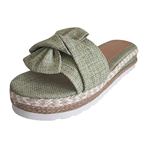 Xmiral Slip-On Hausschuhe Damen Mädchen Open Toe Sommersandalen Webschuhe Bowknot Platform Sandalen(38,Grün)