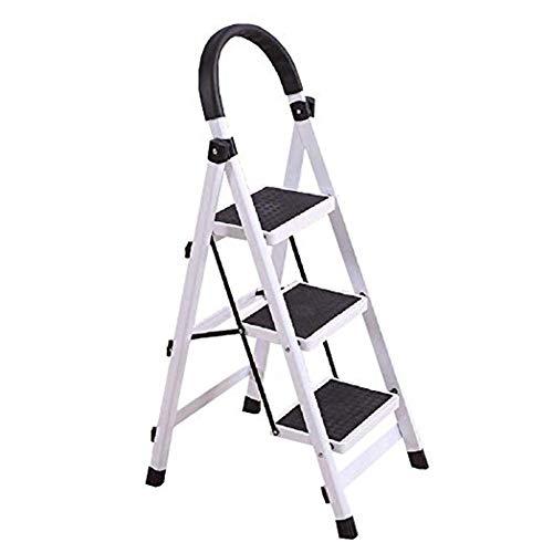 Escalera plegable taburete banqueta Escaleras de tijeras con pasamanos de 3 escalones,...