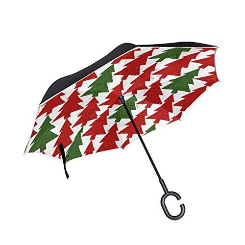 Bigjoke Doppelschichtiger umgekehrter Regenschirm, Weihnachtsbaum-Muster, Winddicht, wasserdicht für Auto, Outdoor, Reisen, Erwachsene, Herren und Frauen