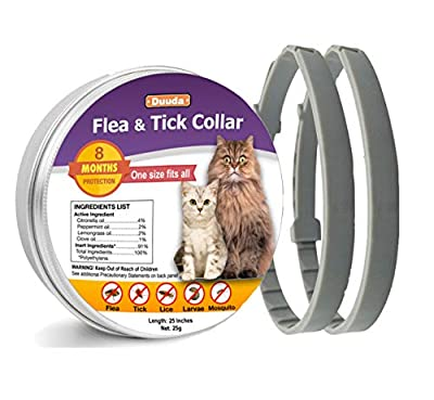 Duuda 2 Pack of Flea and Tick Collar for Dogs - 8 Months Continuous Protection and Prevention - Waterproof and 100% Natural Essential Oil Extract - Adjustable for All Breeds and Size