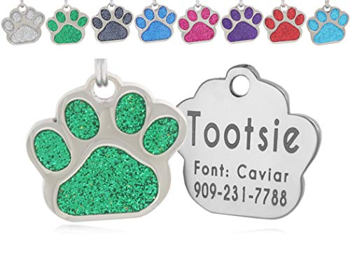 io tags Pet ID Tags, Personalized Dog Tags and Cat Tags, Custom Engraved, Easy to Read, Cute Glitter Paw Pet Tag (Green)