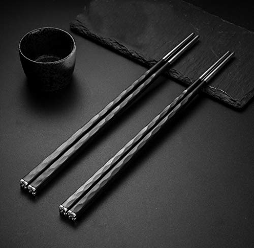 Crazy-M 5 Paia Set Bacchette Cinesi Nere di Alta qualità Bacchette di Metallo Bacchette riutilizzabili Inox Bacchette di Acciaio Inossidabile Nero