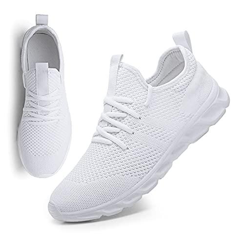 MGNLRTI Herren Schuhe Sneaker Laufschuhe Walkingschuhe Sommerschuhe Sportschuhe Straßenlaufschuhe Turnschuhe Fitnessschuhe Joggingschuhe Workout Freizeitschuhe Männer Running Shoes Gym Weiß EU43
