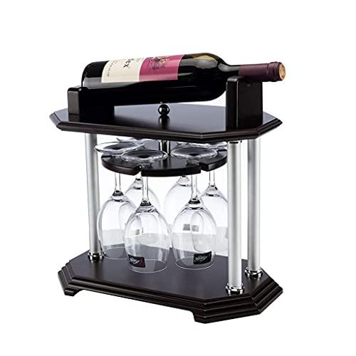 DAKEUR Estante de Vino Organizador de Almacenamiento de Estante de Vino Independiente para encimeras de Cocina, Soporte de Vino de Madera de Mesa, Estante de Vino de encimera, Estante de Copa de Vi