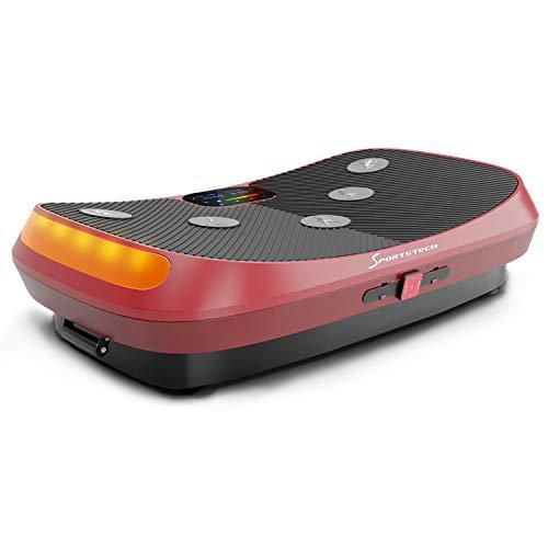 Messe-Neuheit 2019! 4D Vibrationsplatte VP400 mit einmaligen Curved Design, Color Touch Display, Riesige Fläche, Smart LED Technologie inkl. Remote-Watch, Trainingsbänder & Übungsposter & Schutzmatte
