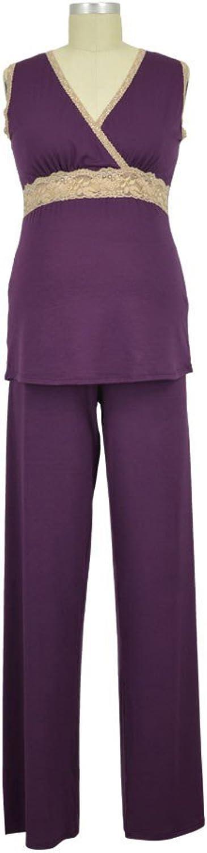 Baju Mama Emma ModalLace Sleeveless Nursing PJ Set