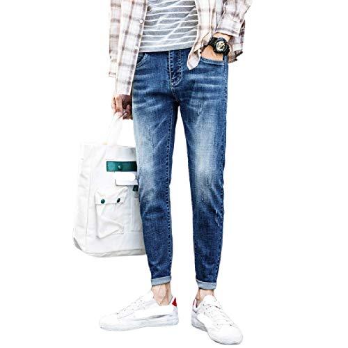 Jeans para Hombre Spring Trend Stretch All-Match Casual Slim Jeans Americana Pantalones de 9 Puntos 27